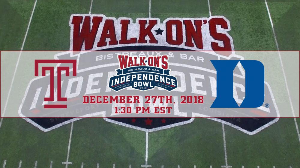 Temple to Match Up Against Duke in 2018 Walk-On's Independence Bowl